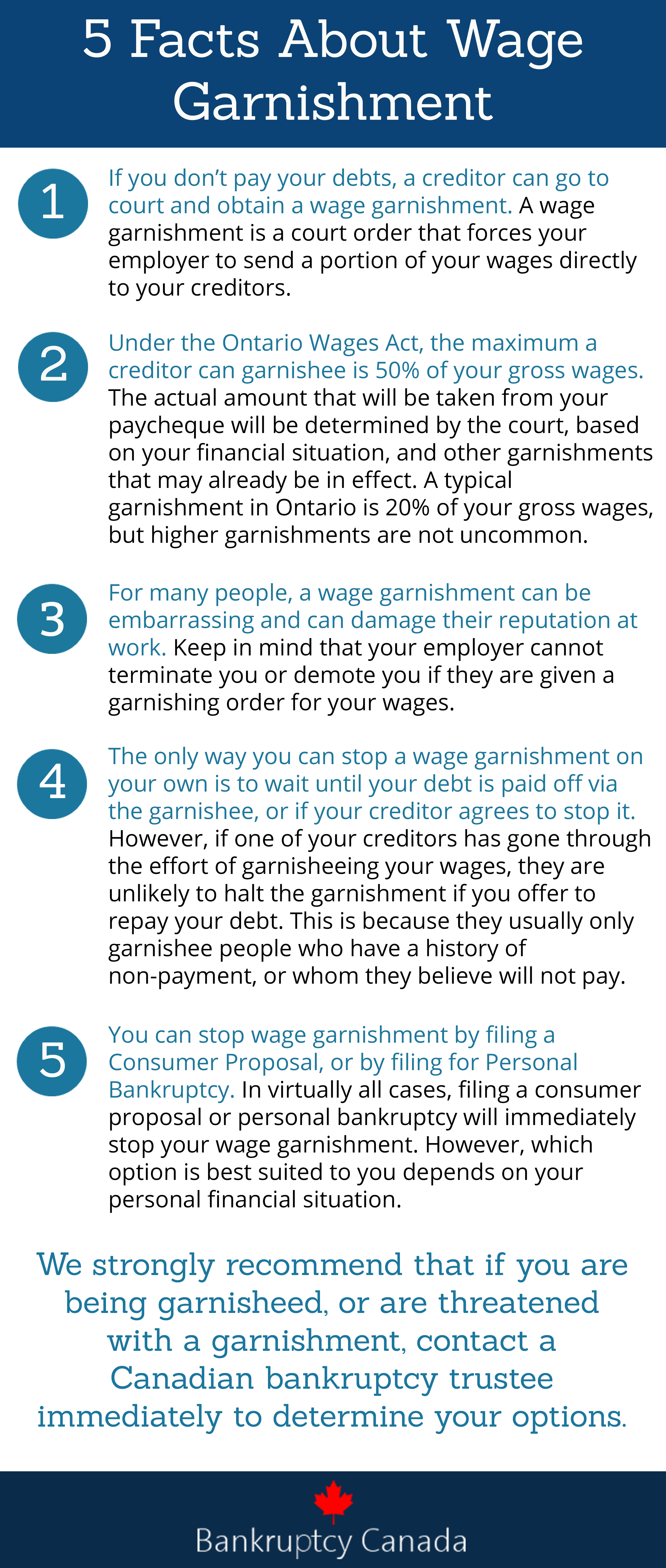 stop wage garnishment Canada information